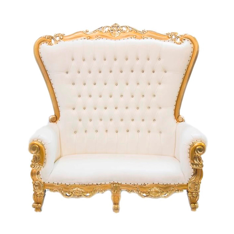 Awesome Throne Sofa White Gold Dutchess Gmtry Best Dining Table And Chair Ideas Images Gmtryco